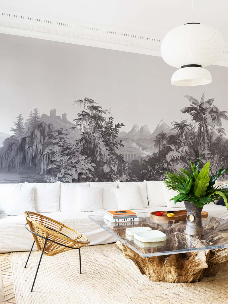 Natural finishes and neutral colors in a modern Paris living room on Thou Swell