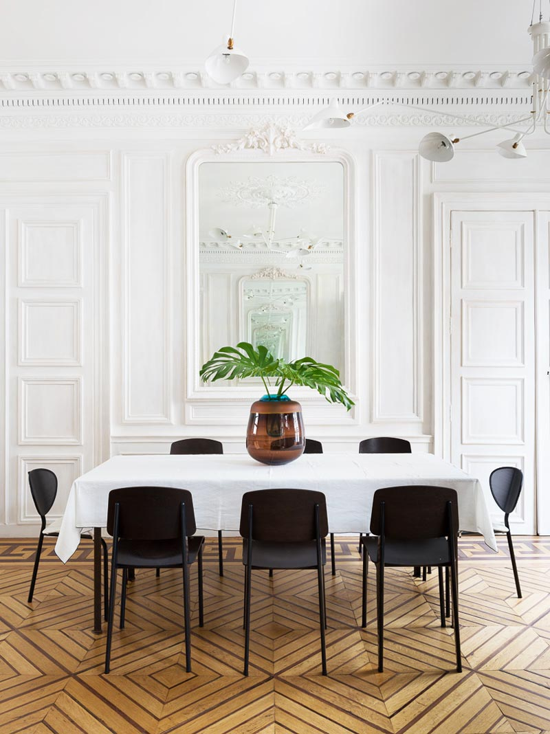 Modern white Paris dining room on Thou Swell