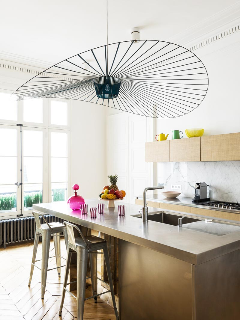 Paris kitchen with Vertigo pendant by Constance Guisset on Thou Swell