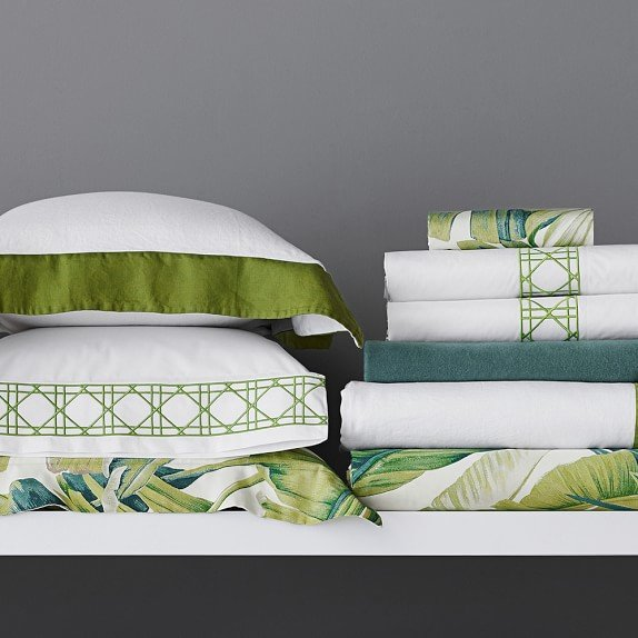 Pantone greenery bedding and linens on Thou Swell