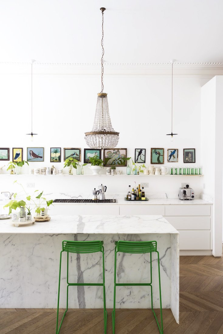 Modern eclectic kitchen with Pantone Greenery accents on Thou Swell