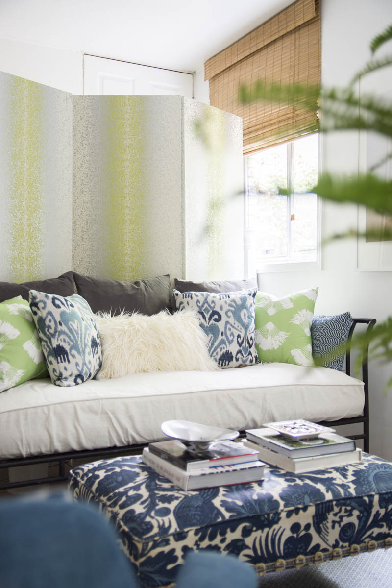 Guest room daybed with Pantone Greenery accents on Thou Swell