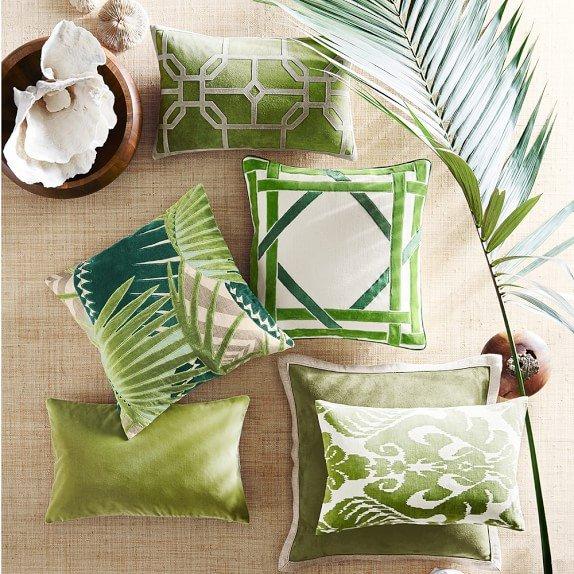 Throw pillows in Pantone Greenery on Thou Swell