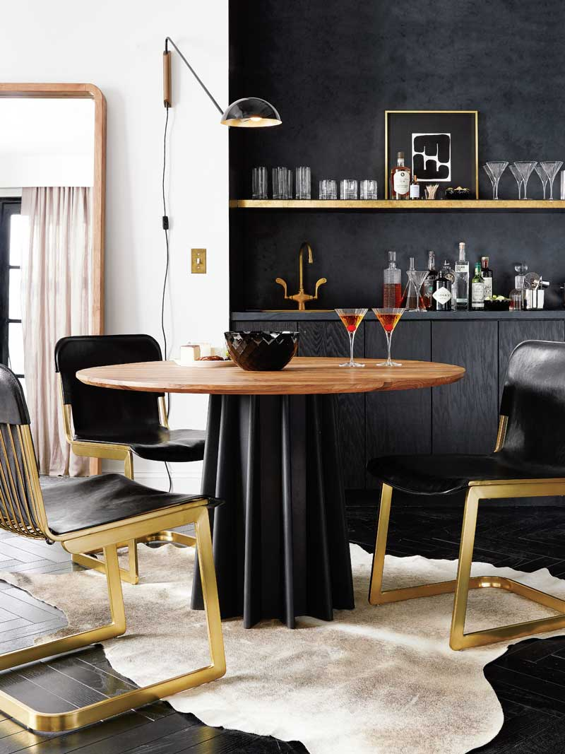 Awesome Glamorous Black And Gold Dining Room In Kitchen With Hide Rug On Thou Swell  @thouswellblog