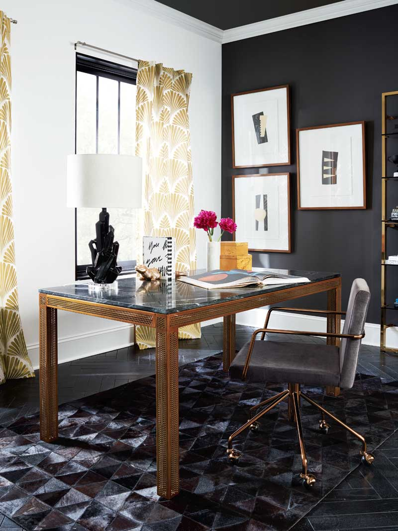 Modern office design with gold perforated desk on Thou Swell @thouswellblog