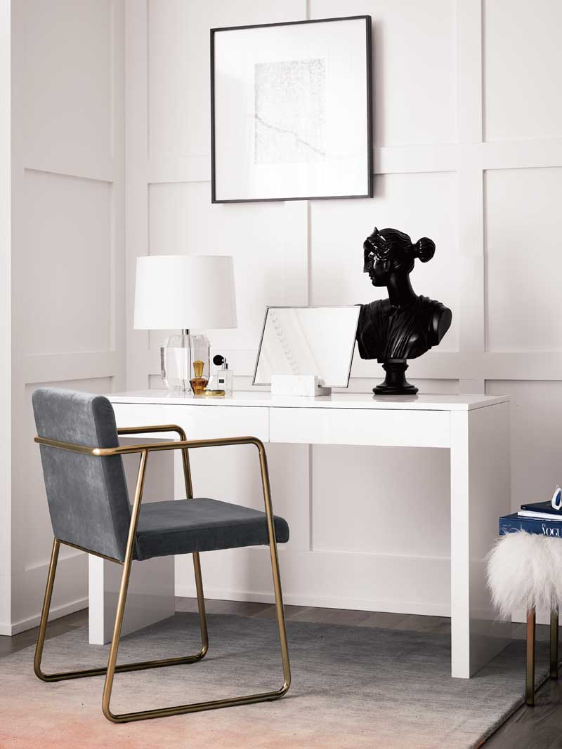 Simple classic office with console table and gold chair on Thou Swell @thouswellblog