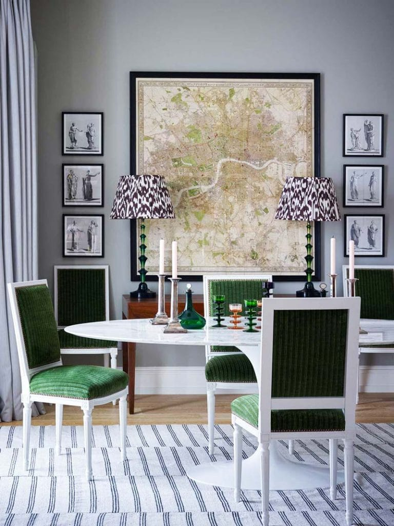 Eclectic dining room with green chairs and Saarinen tulip table on Thou Swell @thouswellblog
