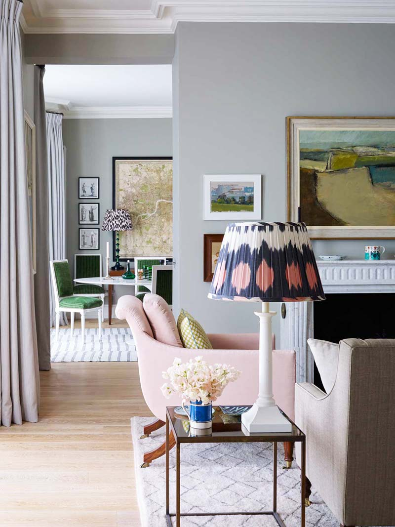 Pink armchair and patterned lampshade in a London flat on Thou Swell @thouswellblog