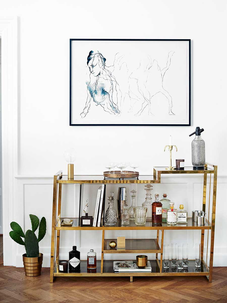 Gold brass bar in a modern Scandinavian home on Thou Swell @thouswellblog