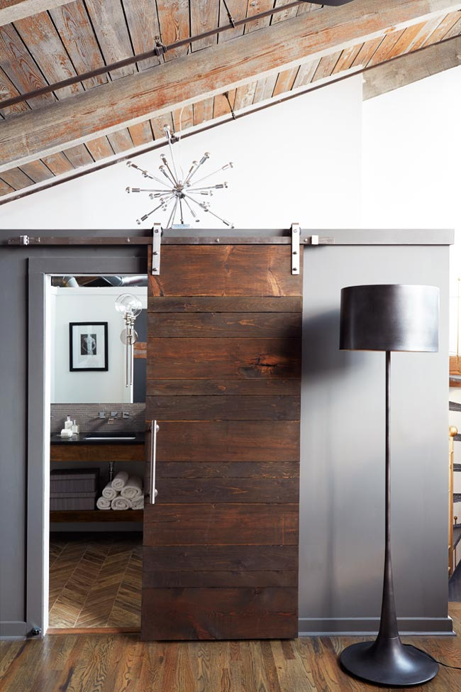 Edgy modern loft sliding door from Atlanta Homes & Lifestyles on Thou Swell @thouswellblog