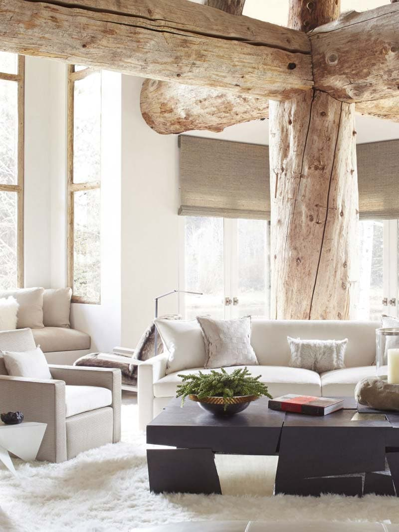 Modern living room in Aspen with huge wooden beams on Thou Swell @thouswellblog