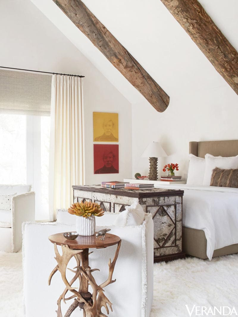 Modern bedroom in rustic mountain house in Aspen on Thou Swell @thouswellblog