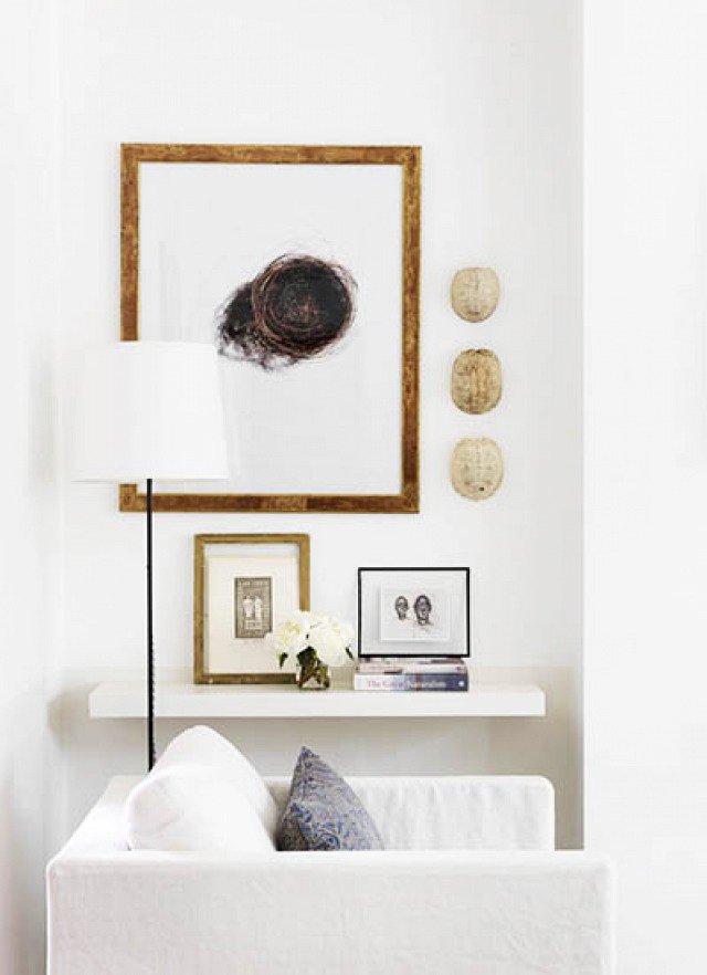 White living room shelf with minimal styling on Thou Swell @thouswellblog
