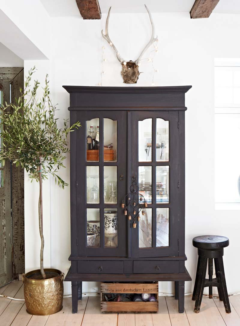 Indoor olive tree with vintage cabinet eclectic style on Thou Swell @thouswellblog