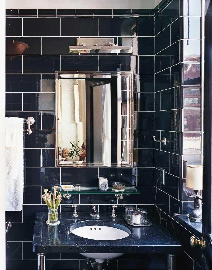 Dark gray subway tiles in traditional bathroom design on Thou Swell @thouswellblog