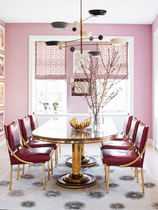 Pink and gold dining room on Thou Swell @thouswellblog