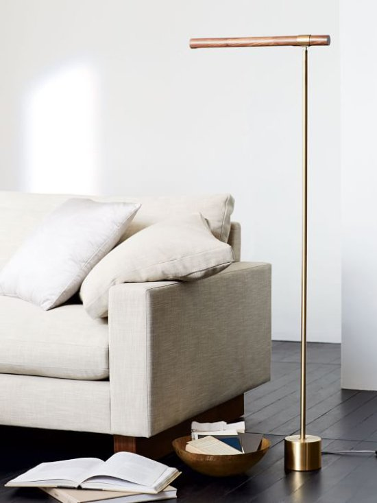 Modern living room with LED floor lamp on Thou Swell @thouswellblog