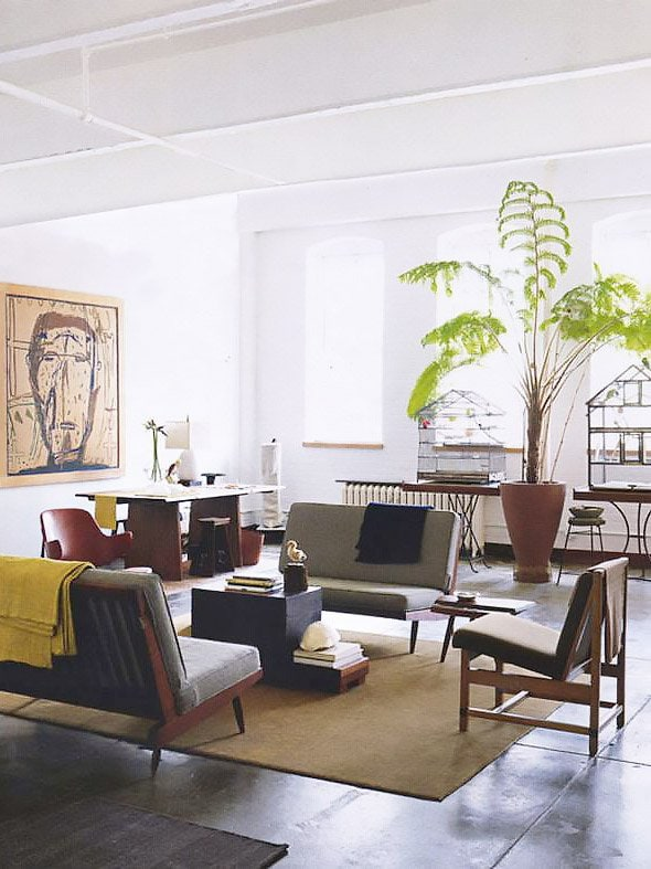 Modern loft living room with huge indoor plant on Thou Swell @thouswellblog