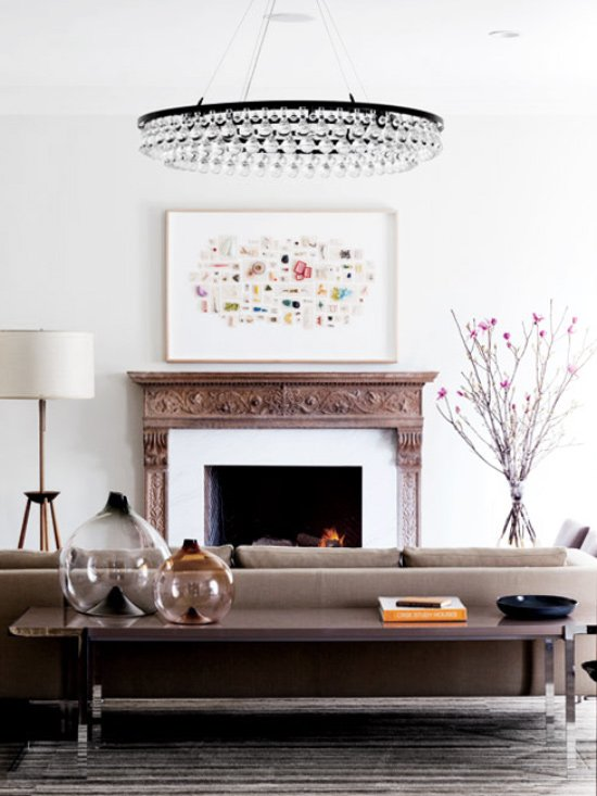 Living room with circular crystal chandelier on Thou Swell @thouswellblog
