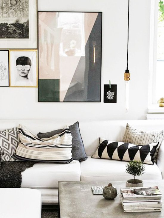 Bohemian living room with gallery wall on Thou Swell @thouswellblog