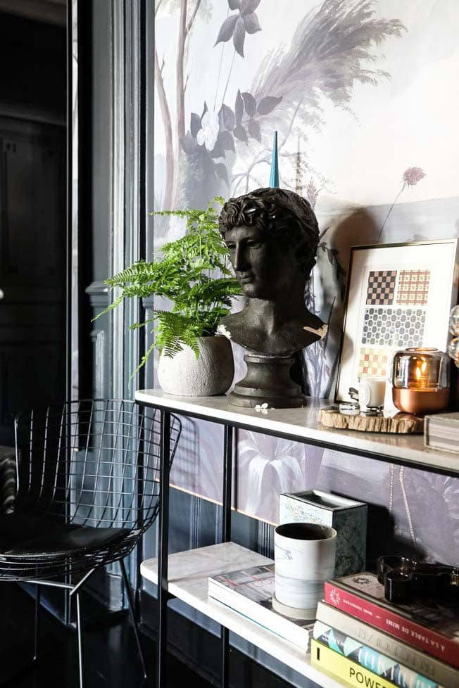 Console table with layered vignette in a Paris pied-à-terre on Thou Swell @thouswellblog
