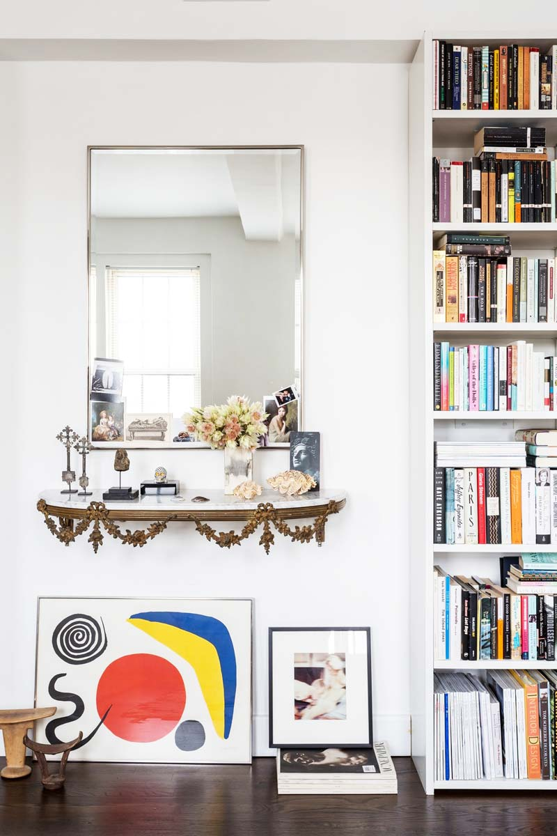 Living room vignette with vintage console and Alexander Calder artwork on Thou Swell @thouswellblog