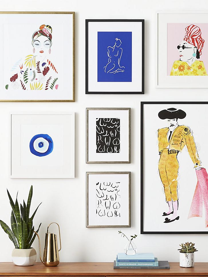 Kate Worum modern art print gallery wall, Framebridge for CB2 on Thou Swell @thouswellblog