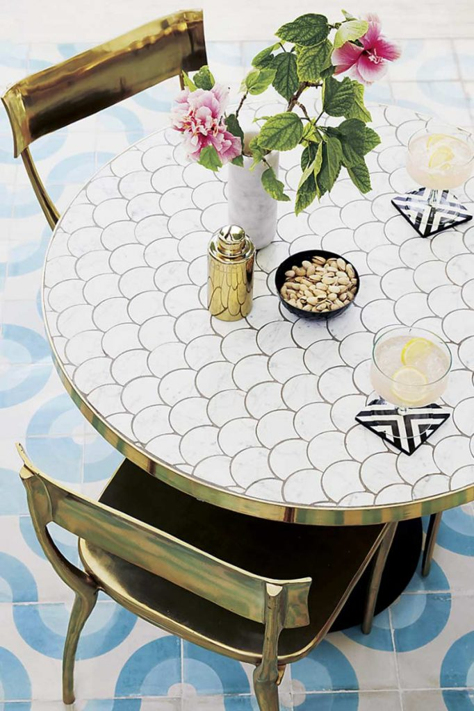 Modern outdoor furniture, marble dining table, gold dining chairs, tiled floor on Thou Swell @thouswellblog