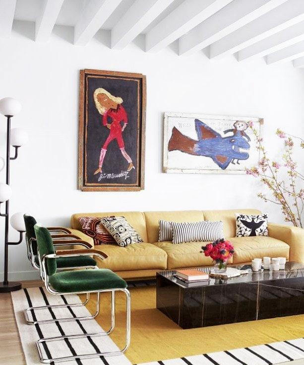 Colorful West Village living room with folk art and spring home decor on Thou Swell @thouswellblog