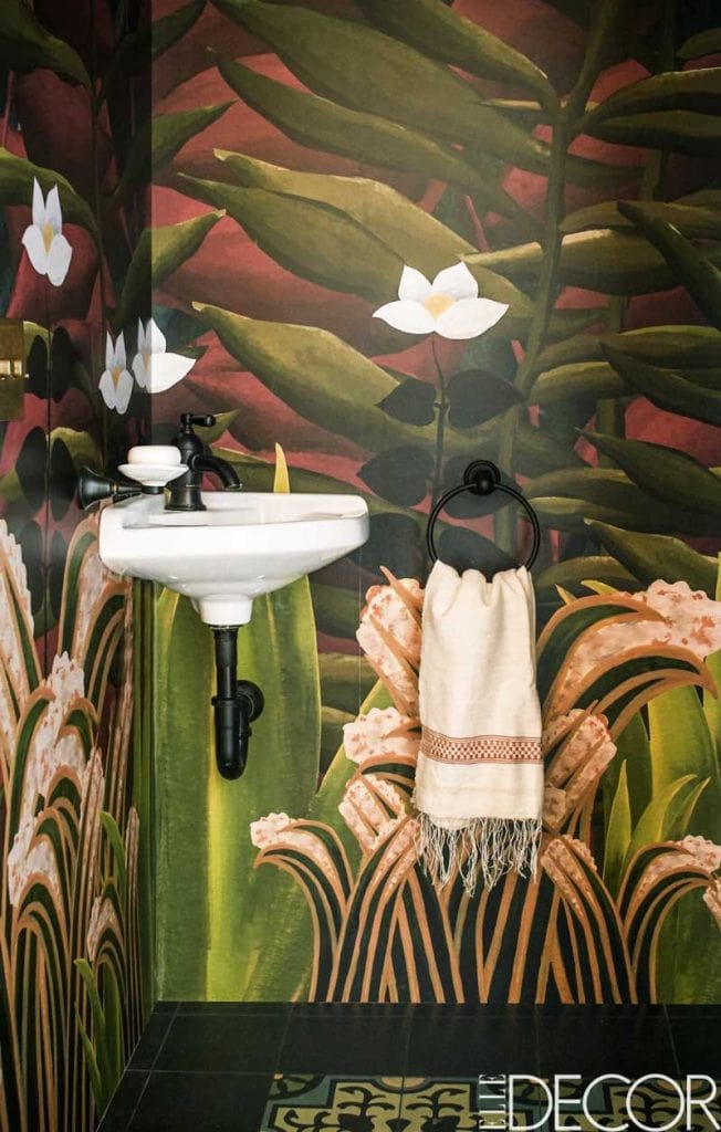 Wallpaper inspired by Rousseau jungle painting in small powder room on Thou Swell @thouswellblog
