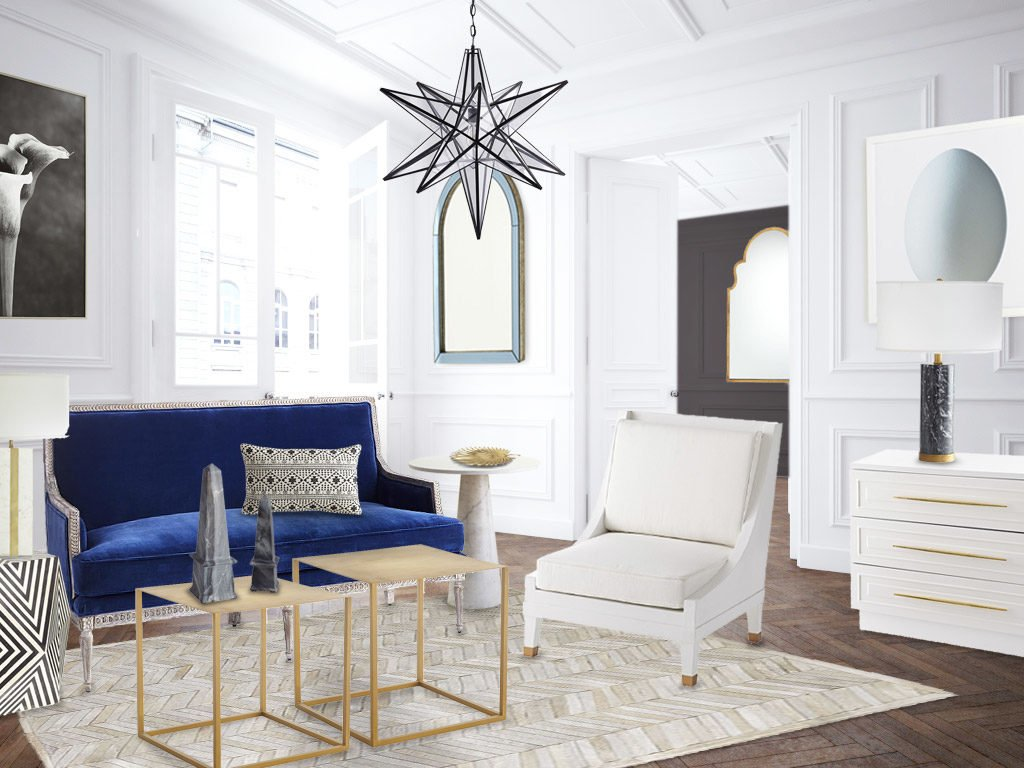 Blue And White Living Room Design With Wisteria And Dwell With Dignity  #WisteriaMood Contest On