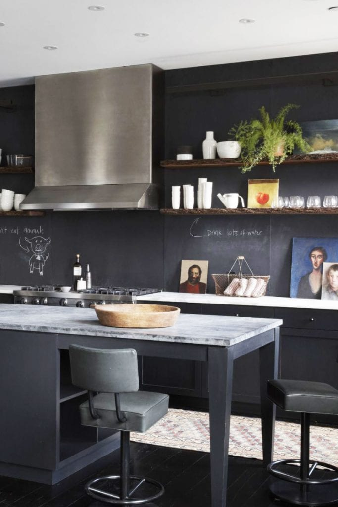 Dark grey industrial modern loft kitchen design on Thou Swell #kitchen #kitchendesign #chalkboardwall #chalkboardpaint #greypaint #greykitchen #modernkitchen #moderndesign