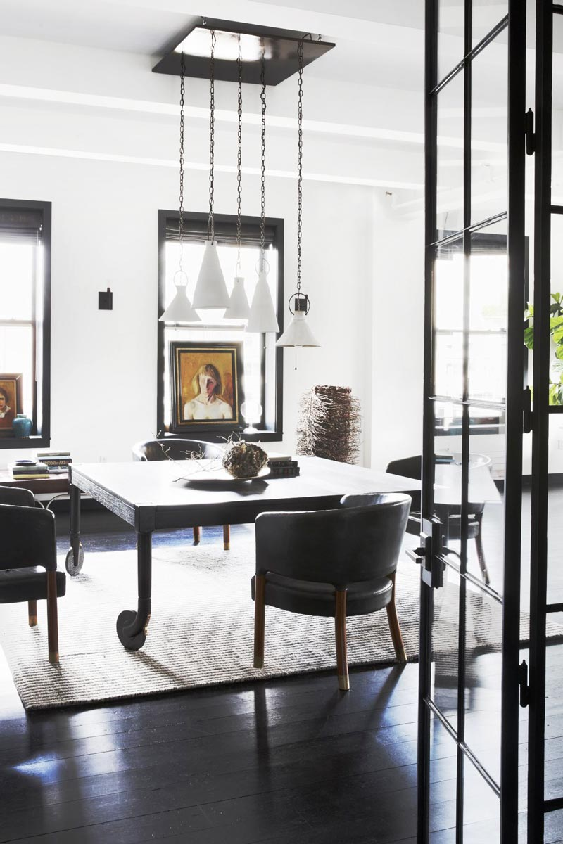 Industrial modern loft dining room in greyscale room decor on Thou Swell @thouswellblog