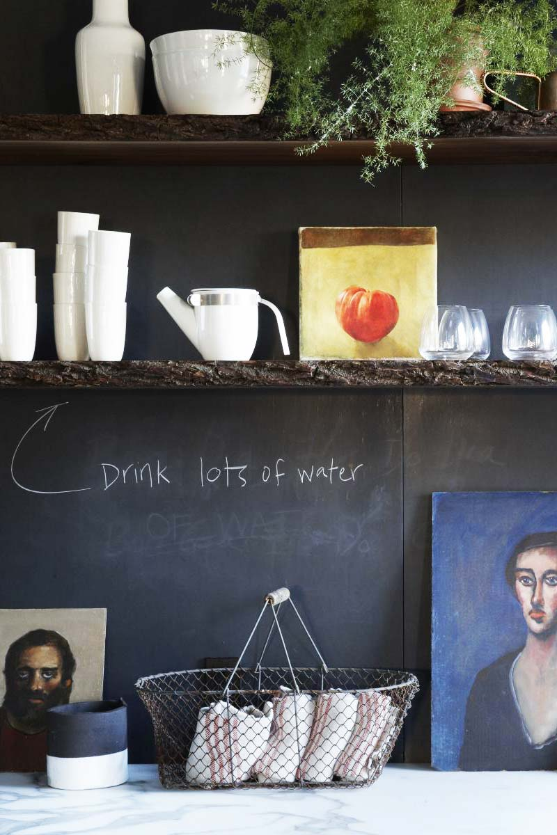 Chalkboard paint on kitchen wall design idea on Thou Swell @thouswellblog