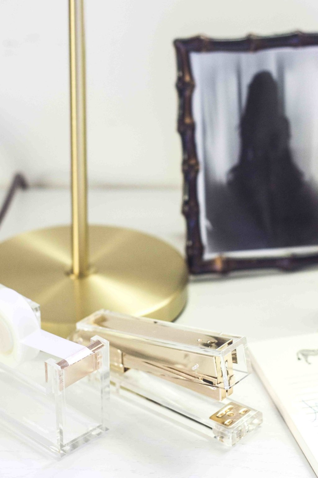 Acrylic stapler and tape dispenser from Waiting on Martha on desk on Thou Swell @thouswellblog