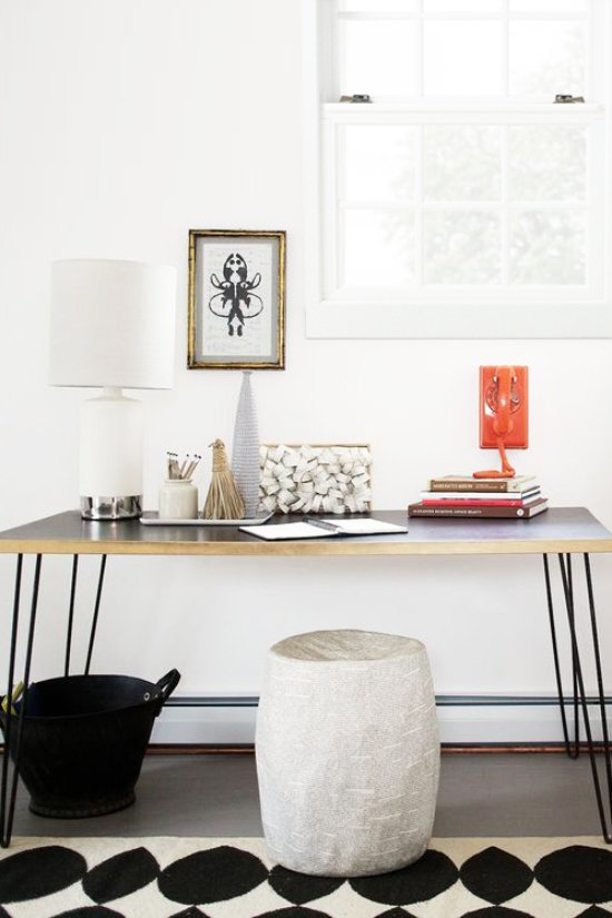 Styled hairpin leg console table with decor and accessories on Thou Swell @thouswellblog