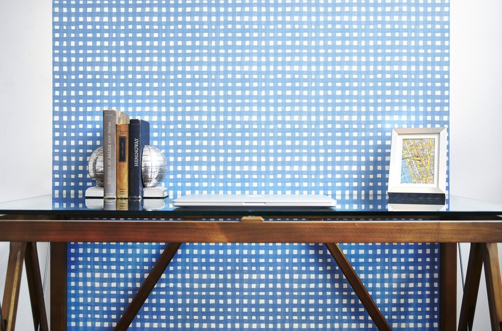 Blue plaid removable wallpaper on Thou Swell @thouswellblog