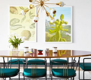Colorful modern dining room with teal chairs and brass sputnik chandelier on Thou Swell @thouswellblog