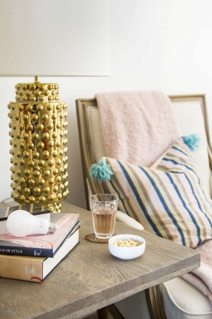 Robert Allen gold hobnail lamp and Hive Active Light on Thou Swell @thouswellblog