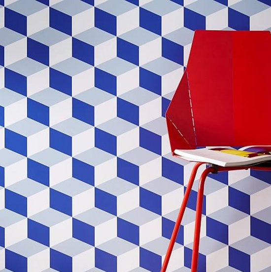 Marlow cube blue removable wallpaper with optical illusion on Thou Swell @thouswellblog