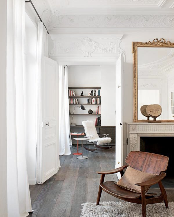 French interior with double doors and ornate moulding between rooms on Thou Swell @thouswellblog