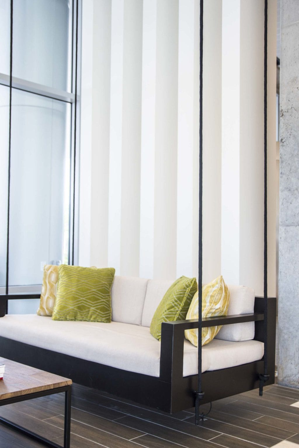 Modern hanging daybed in the new Renaissance hotel at the Atlanta airport on Thou Swell @thouswellblog