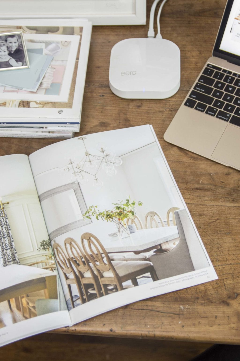 eero wifi system in modern home office with French farmhouse table desk and bookshelves on Thou Swell @thouswellblog