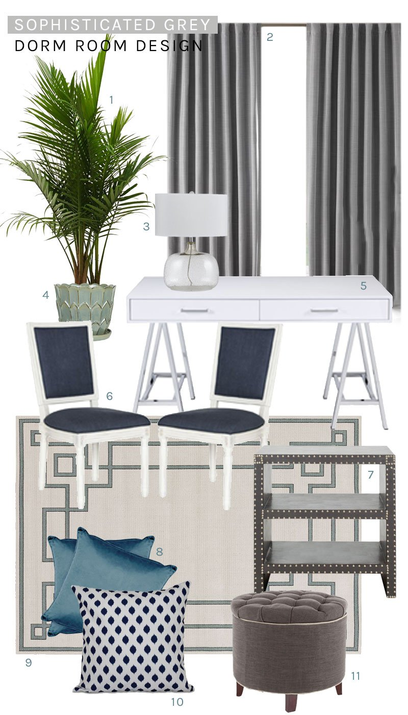 Sophisticated grey dorm room design on Thou Swell @thouswellblog