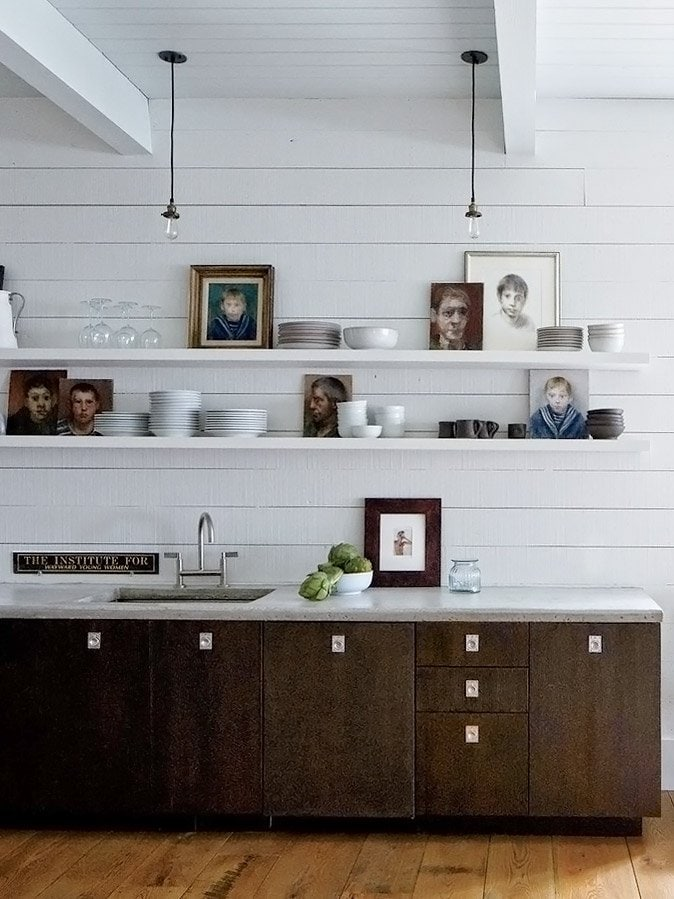 Modern-industrial kitchen with open shelving design in John Mellencamp's South Carolina home tour on Thou Swell @thouswellblog