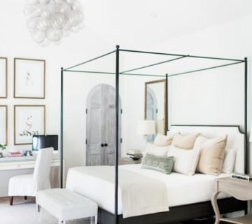 Neutral master bedroom with metal canopy bed on Thou Swell @thouswellblog
