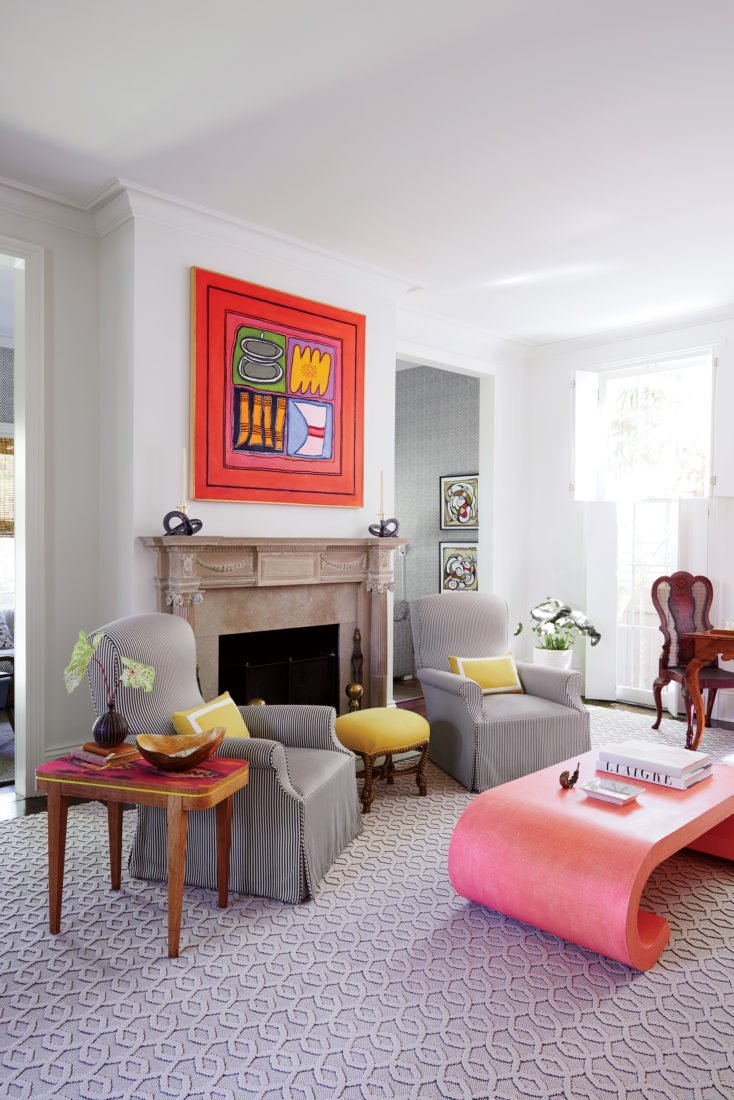 Colorful New Orleans Living Room With Modern Art And Pink Karl Springer  Coffee Table On Thou