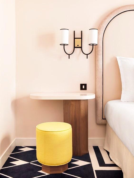 Yellow and millennial pink art deco bedroom on Thou Swell @thouswellblog