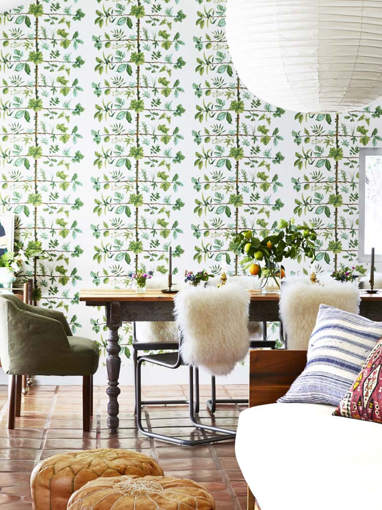 Pierre Frey espalier wallpaper in California living and dining room on Thou Swell @thouswellblog