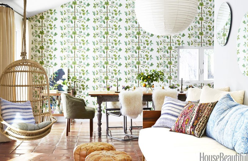California living room with rattan hanging chair and Pierre Frey Espalier wallpaper on Thou Swell @thouswellblog